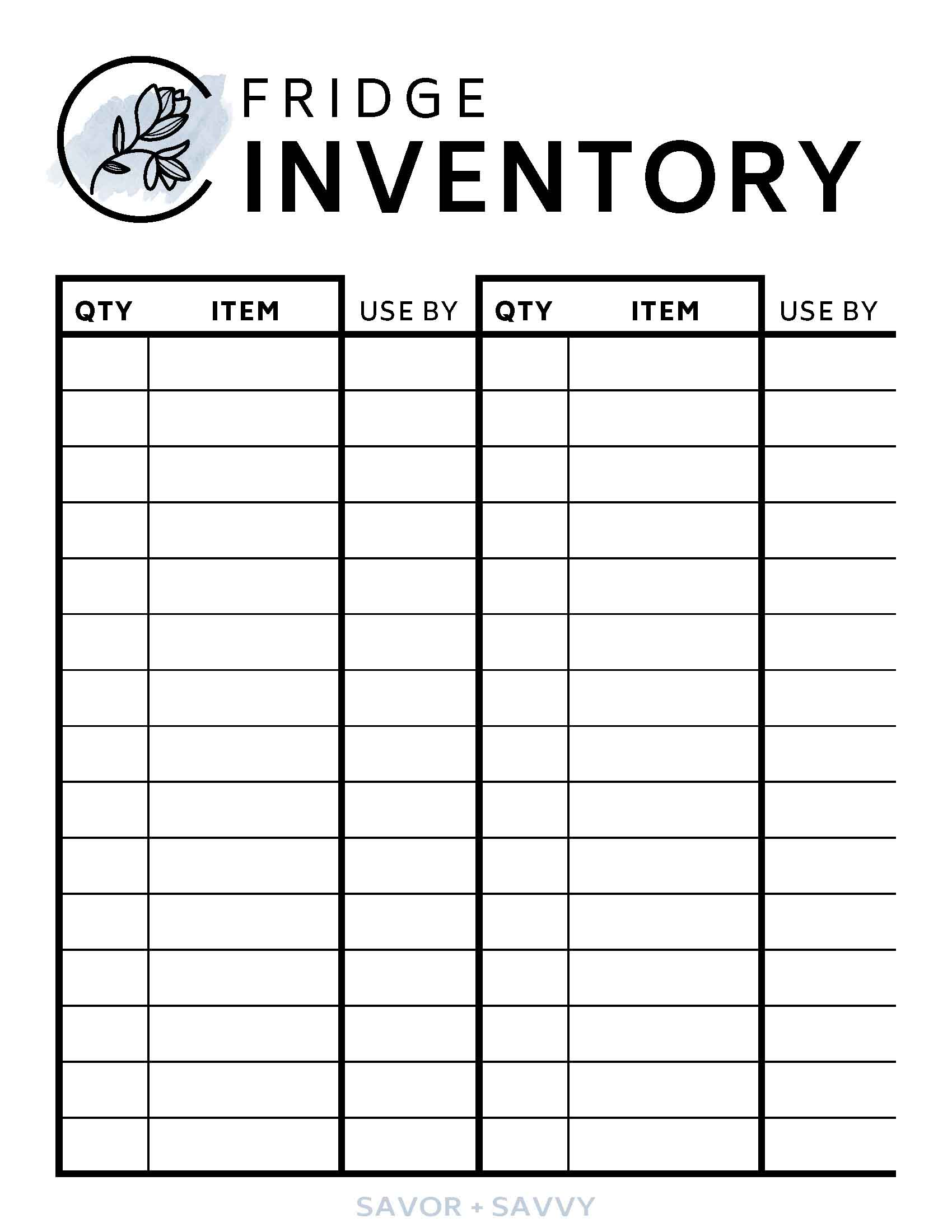 Free Kitchen Organization Printables