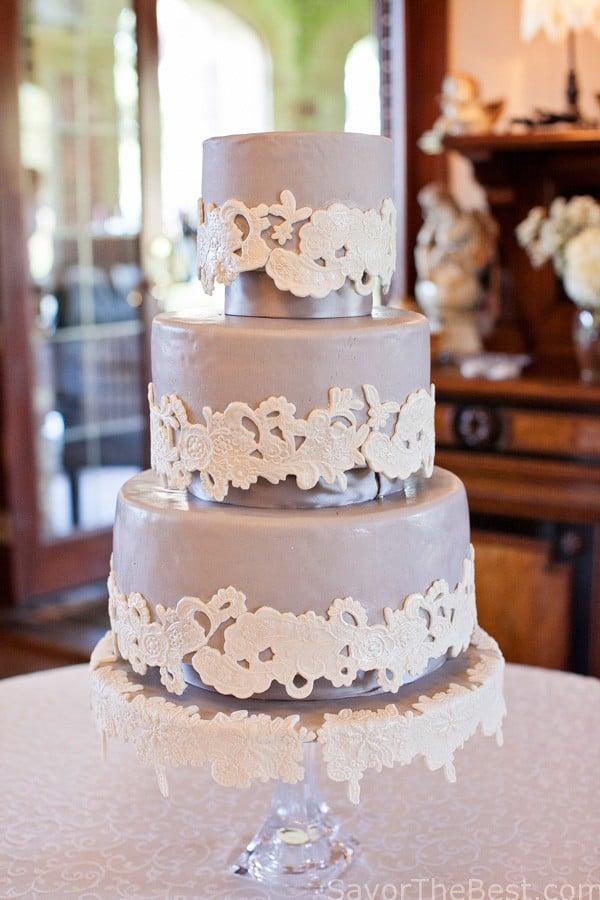 Lace Applique Wedding Cake Design