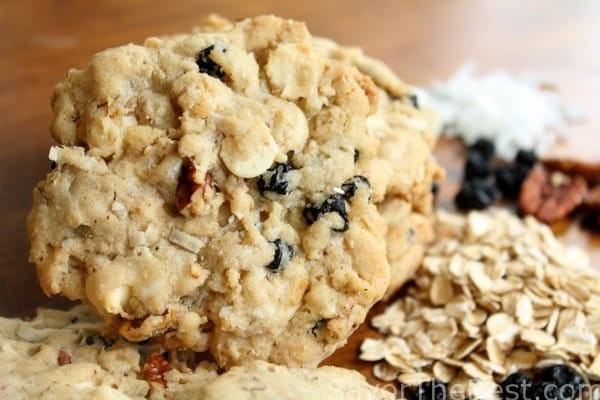 Blueberry, pecan, coconut, white chocolate, oatmeal cookies