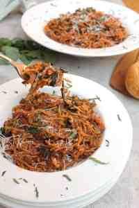 one pot beef basil spaghetti