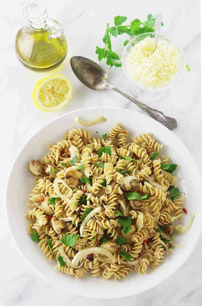 Kamut Whole Grain Pasta with Fennel and Mushrooms