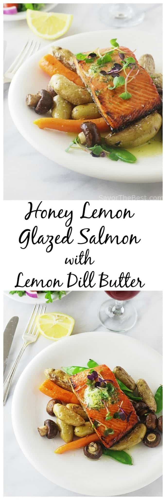 Honey lemon glazed salmon with lemon dill butter