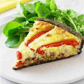 Roasted Red Peppers and Chorizo Tart with Herbed Buckwheat Crust