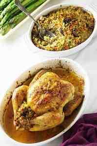 Roast Chicken and Freekeh Stuffing