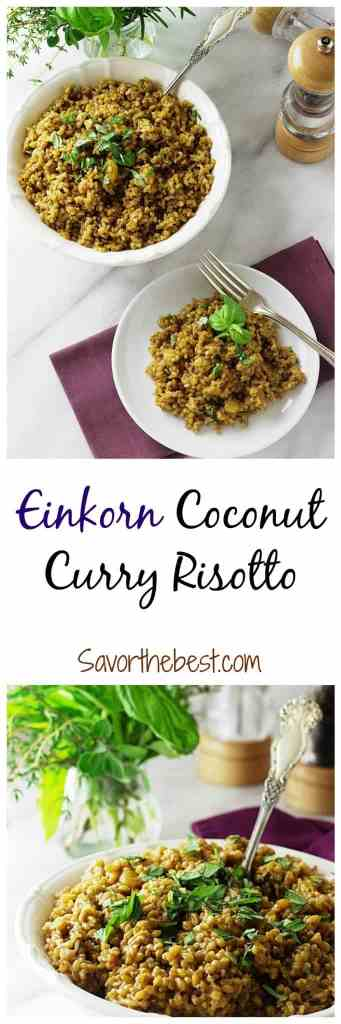 A delicious coconut curry risotto made with einkorn wheat berries instead of rice