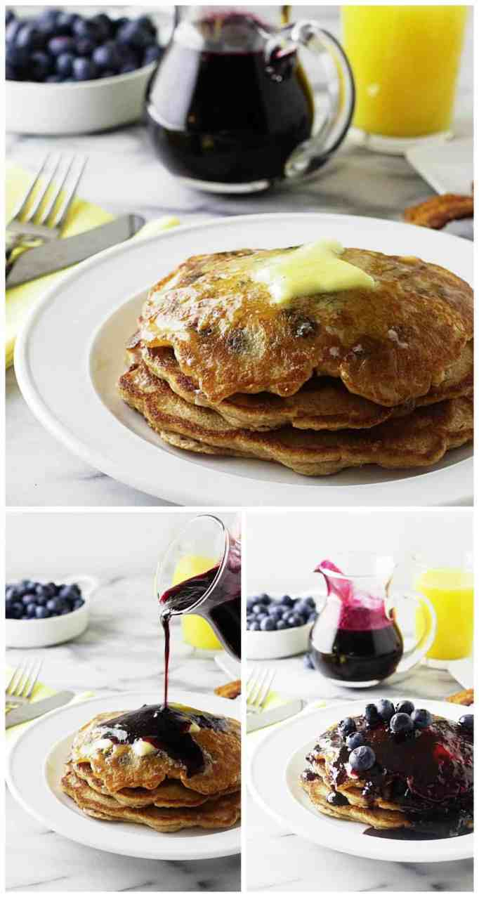 whole wheat einkorn blueberry pancakes