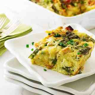 Asparagus-Ham and Gouda Breakfast Strata