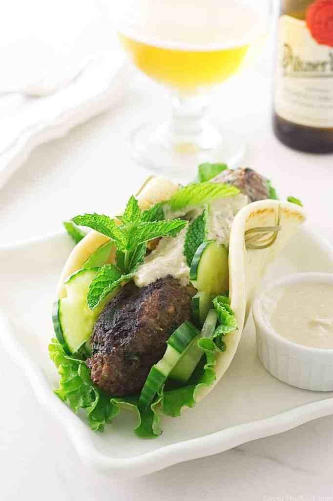 Grilled Lamb Kofta Kabab Sandwiches