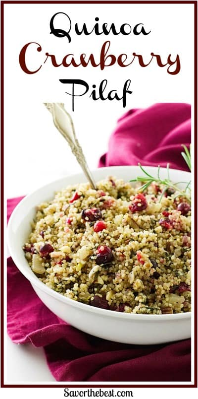 Quinoa-Cranberry Pilaf is filled with nutrition: fresh fennel, kale, onion, cranberries and pecans mixed with the fluffy quinoa.