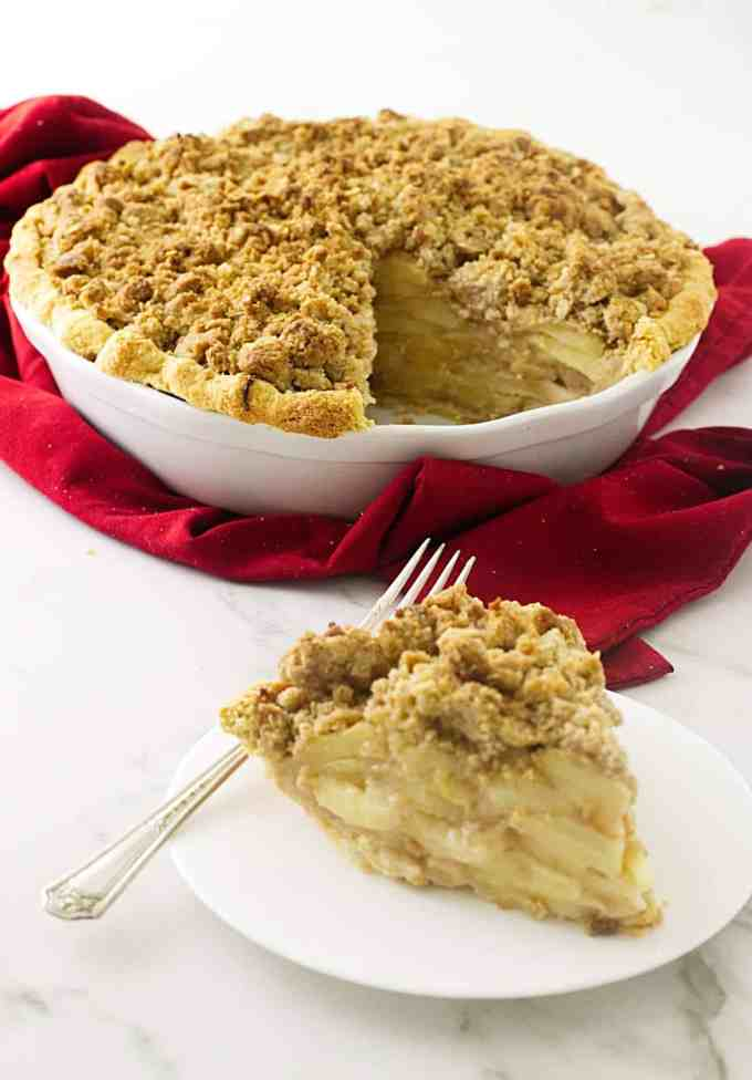 Dutch apple pie with oatmeal streusel topping and a luscious creamy apple filling