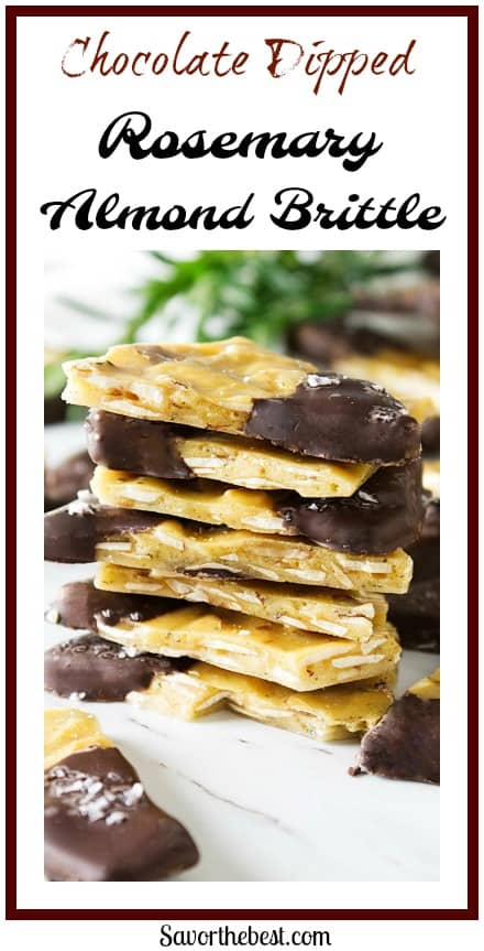 chocolate dipped rosemary almond brittle