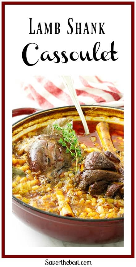 Lamb Shank Cassoulet is braised long, low and slow with white beans, aromatic vegetables, chicken broth, wine and fresh herbs.