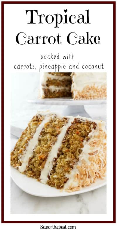 Tropical carrot cake is a classic carrot cake that gets a special twist from pineapple and coconut. It is moist, tender and packed with flavor.