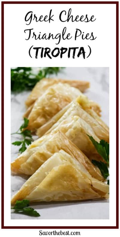 Greek Cheese Triangle Pies (Tiropita) pinterest photo