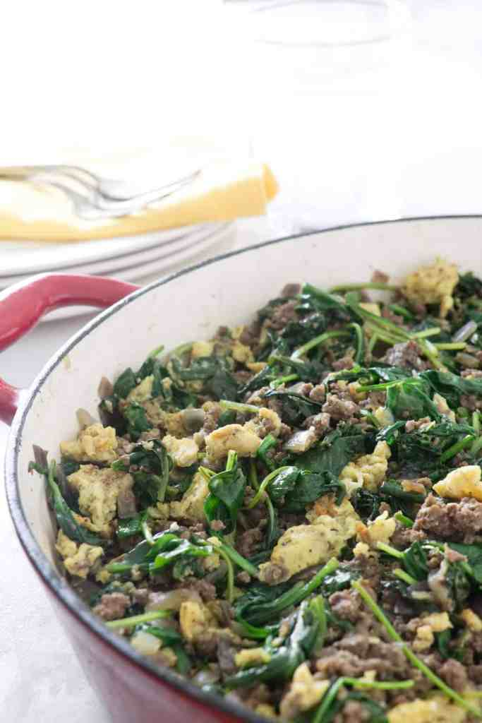 spinach, beef and egg hash