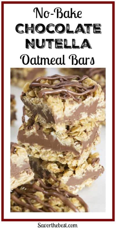 No bake chocolate Nutella oatmeal bars