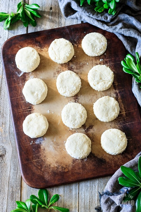 buttermilk biscuits on a baking stone