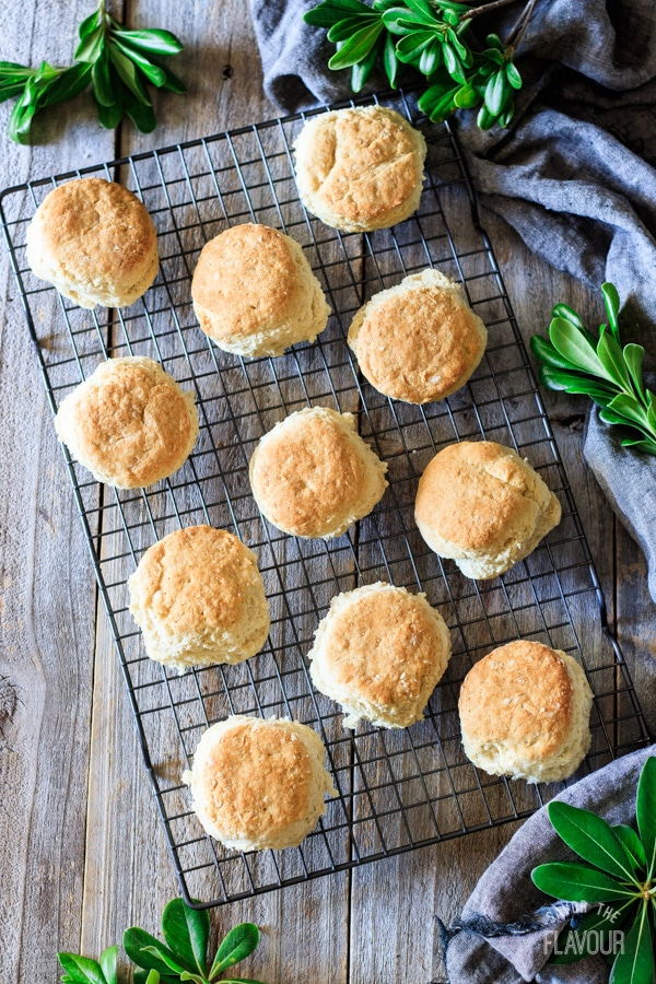 buttermilk biscuits on a wire cooling rack