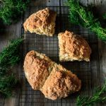 Irish soda bread on a wire cooling rack