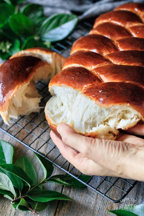 tearing challah bread