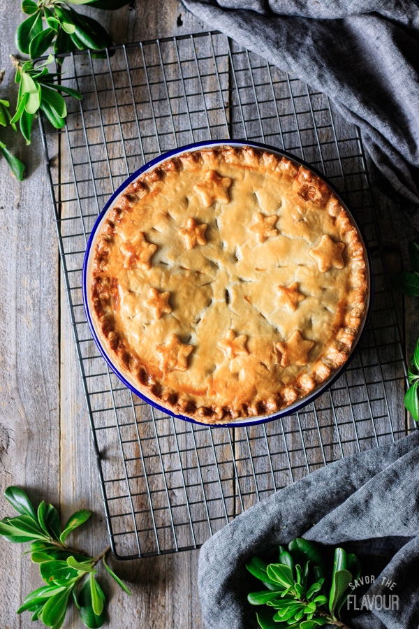 baked French Canadian meat pie on a cooling rack