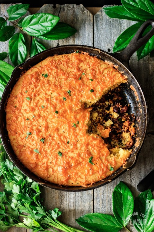 skillet chili cornbread with plate and fork