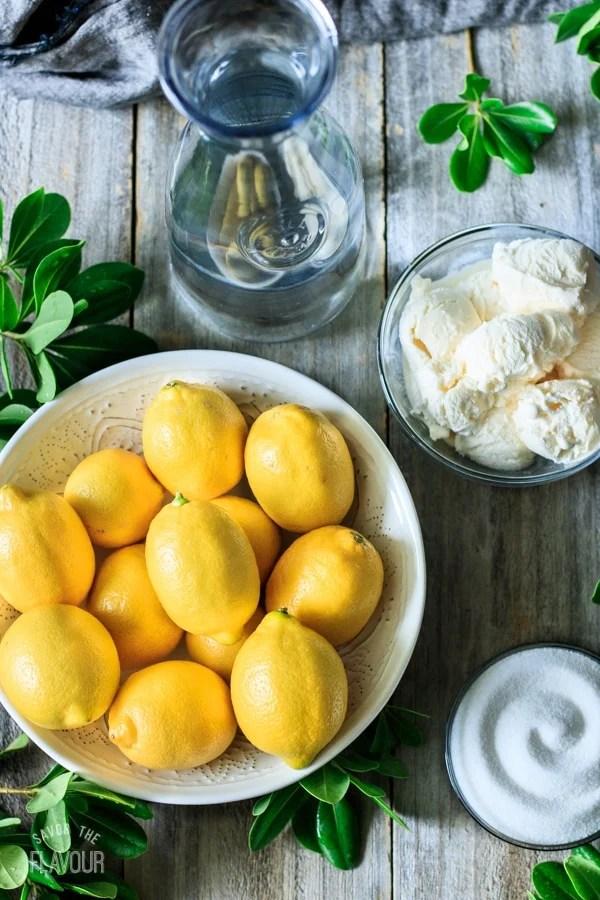 lemons, sugar, water, and ice cream for frozen lemonade