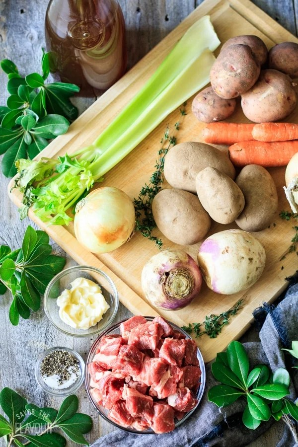 ingredients for beef and potato pie