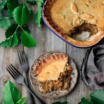 meat pie made with hot water crust pastry
