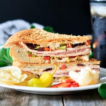muffaletta sandwich on a plate