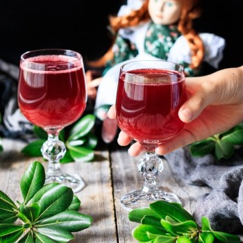 two glasses of raspberry cordial