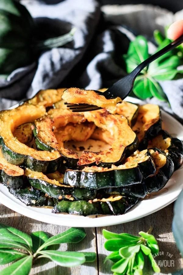 forkful of roasted acorn squash