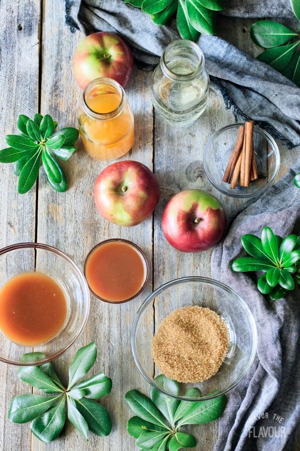 ingredients for caramel apple mocktail