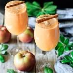 two glasses of caramel apple mocktail