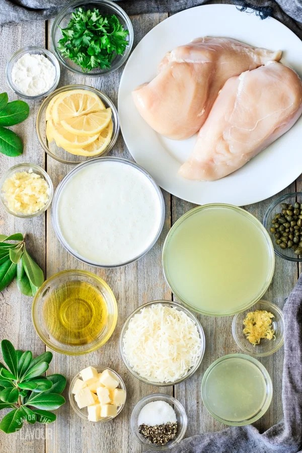 ingredients for creamy lemon chicken