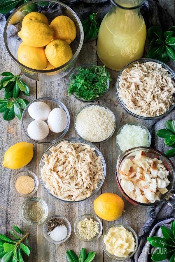 ingredients for Greek lemon chicken soup
