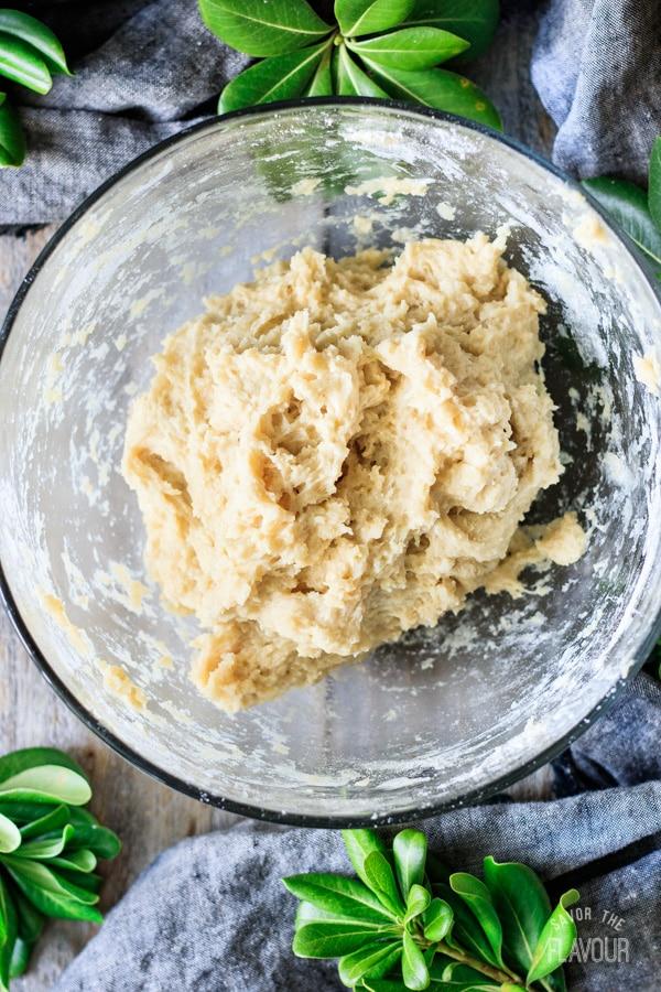 dough for Hokkaido milk bread rolls in a bowl