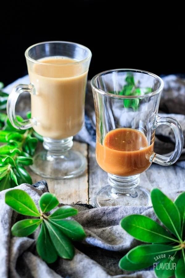 butterscotch sauce in a glass for smoked butterscotch latte