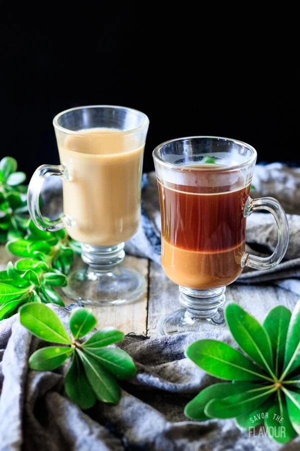 butterscotch sauce and coffee in a glass for smoked butterscotch latte