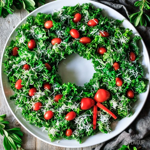 Christmas wreath salad on a platter