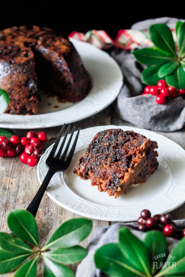 slice of plum pudding on a plate