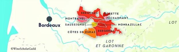 bergerac map southwest france