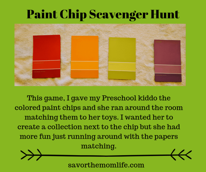Paint Chip Scavenger Hunt Beat cabin fever with the kids this winter.
