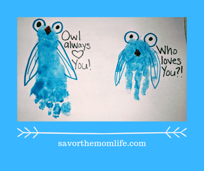 Owl always love you hand and footprint valentine.