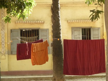 monk's robes drying in the sun