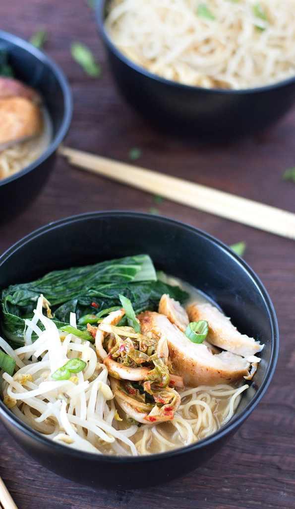 miso soup ramen bowl using leftovers