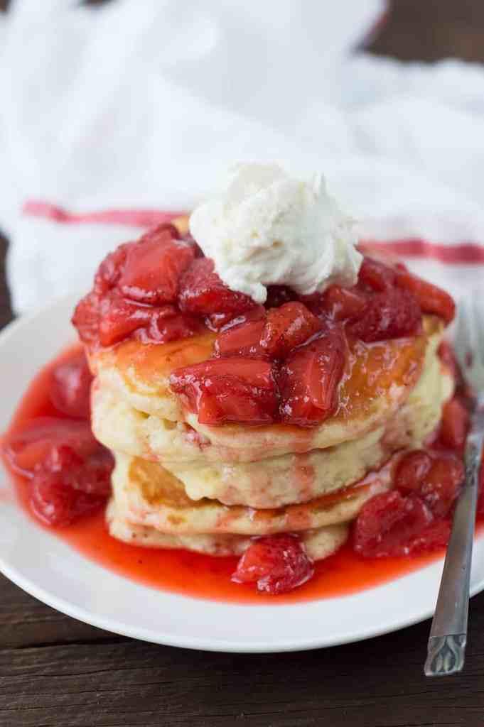 Fluffy Champagne Strawberry Glazed Pancakes dsc_0032