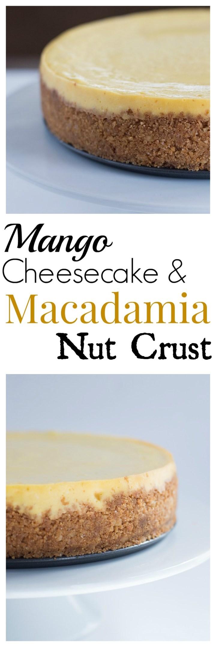 Creamy Mango Cheesecake with a Crunchy Macadamia Nut Crust
