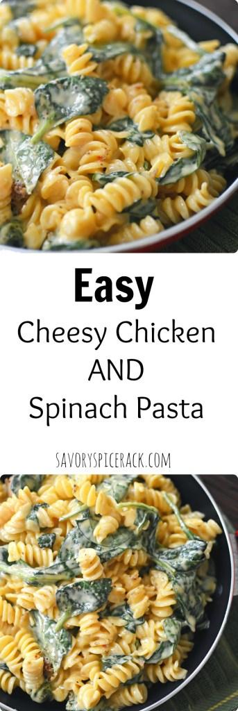 cheesy chicken and spinach pasta