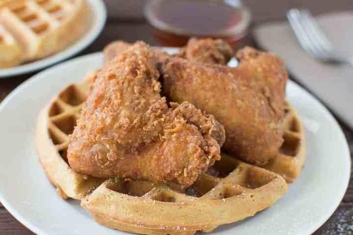 Buttermilk Fried Chicken and Buttermilk Peach Waffles
